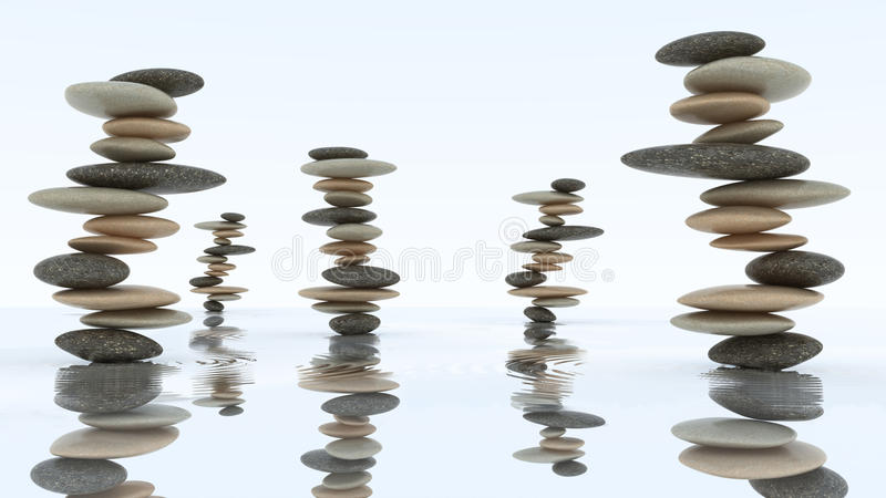 Stabilité et harmonie. Piles de caillou sur l'eau illustration stock
