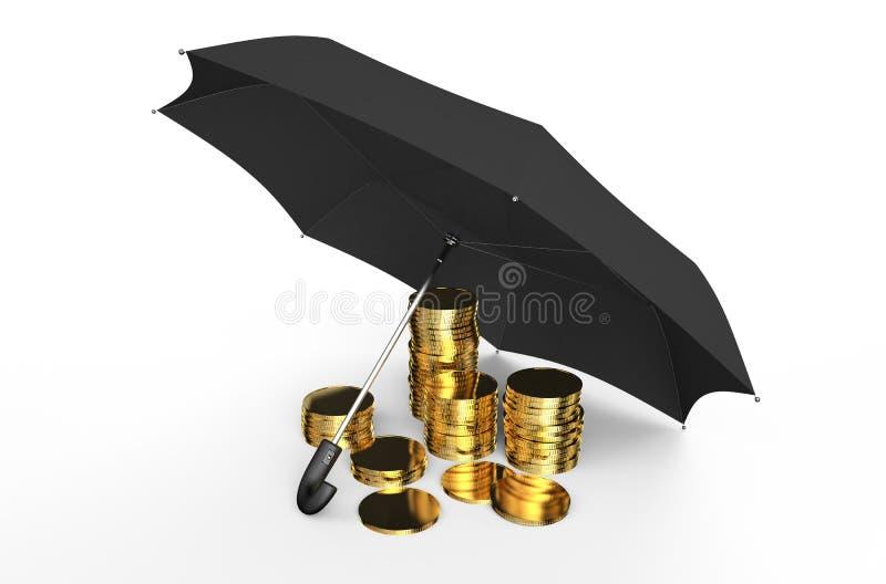 Stabilitet och skydd i finansiellt, affär och försäkring c royaltyfri illustrationer