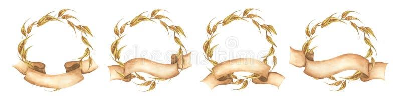 OfstabilitoAutumn Wreath con il nastro Illustrazione disegnata a mano dell'acquerello illustrazione di stock