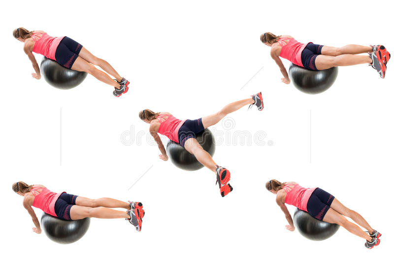 Stability Ball Exercise. Studio shot over white stock image