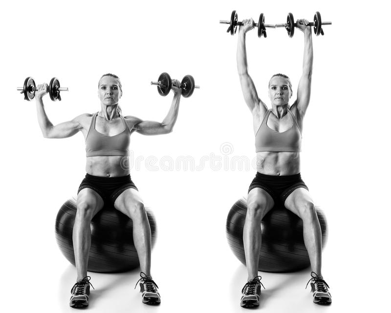 Stability Ball Exercise. Studio shot over white royalty free stock photography