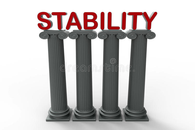 Stability concept. 3D rendered illustration for the concept of stability. The composition uses four pillars and the word STABILITY placed on top of the columns royalty free illustration