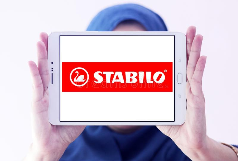 Stabilo company logo. Logo of Stabilo company on samsung tablet holded by arab muslim woman. STABILO is a German maker of pens for writing, colouring and royalty free stock photo