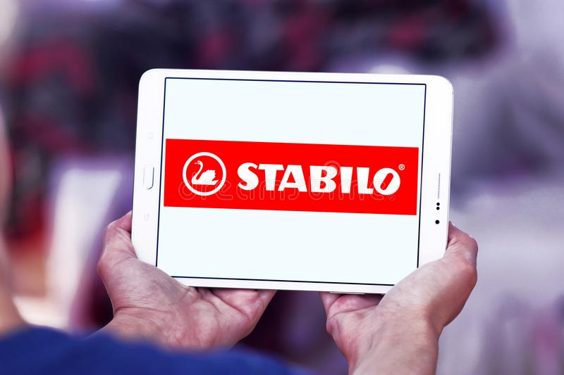 Stabilo company logo. Logo of Stabilo company on samsung tablet. STABILO is a German maker of pens for writing, colouring and cosmetics as well as markers and stock images