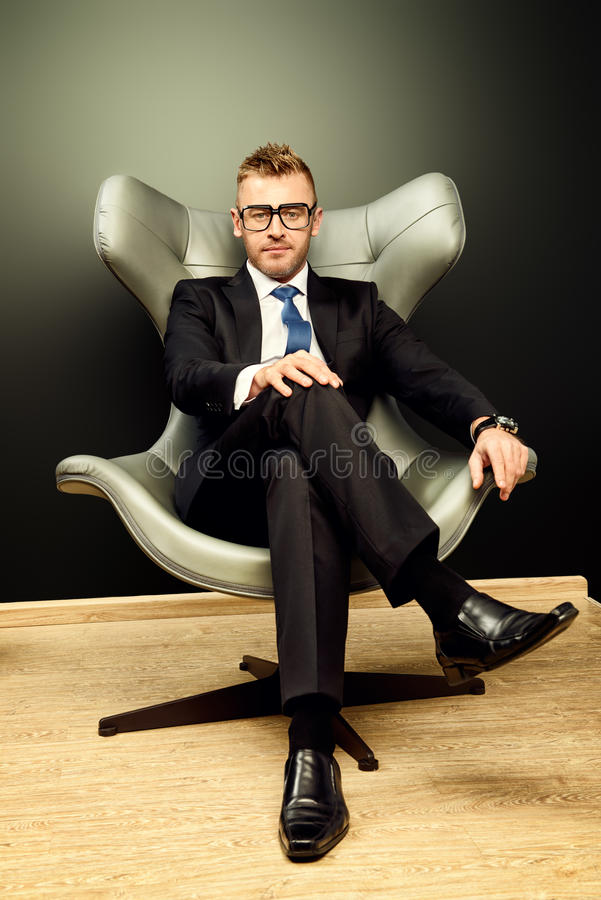 Mature in chair position