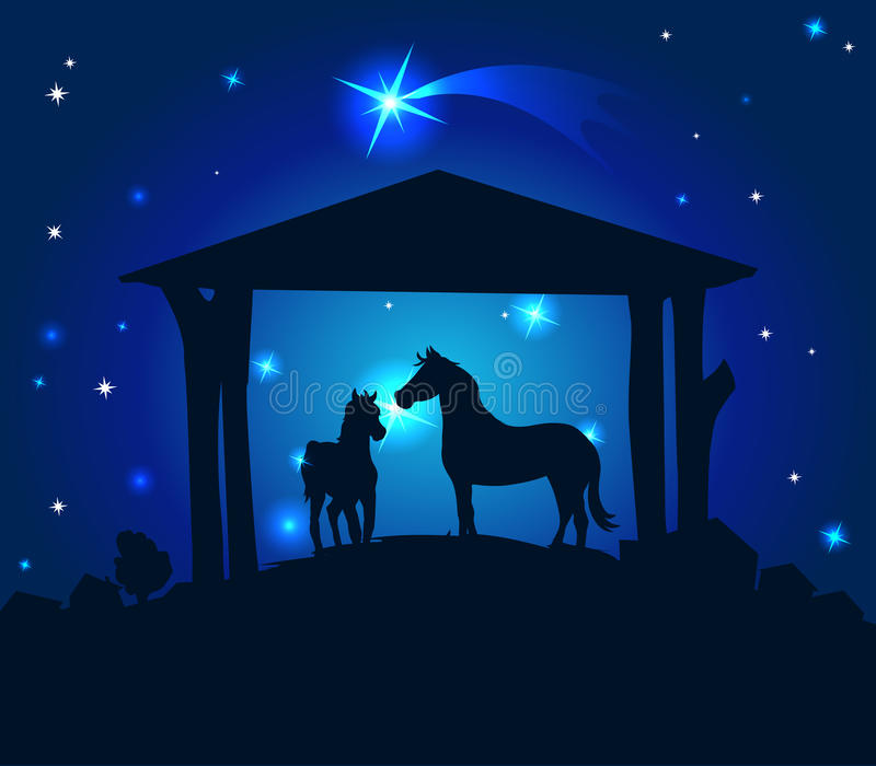 Stables with horses on Christmas Eve with a starry sky behind them - vector. Stables with horses on Christmas Eve with a starry sky behind them - mood royalty free illustration