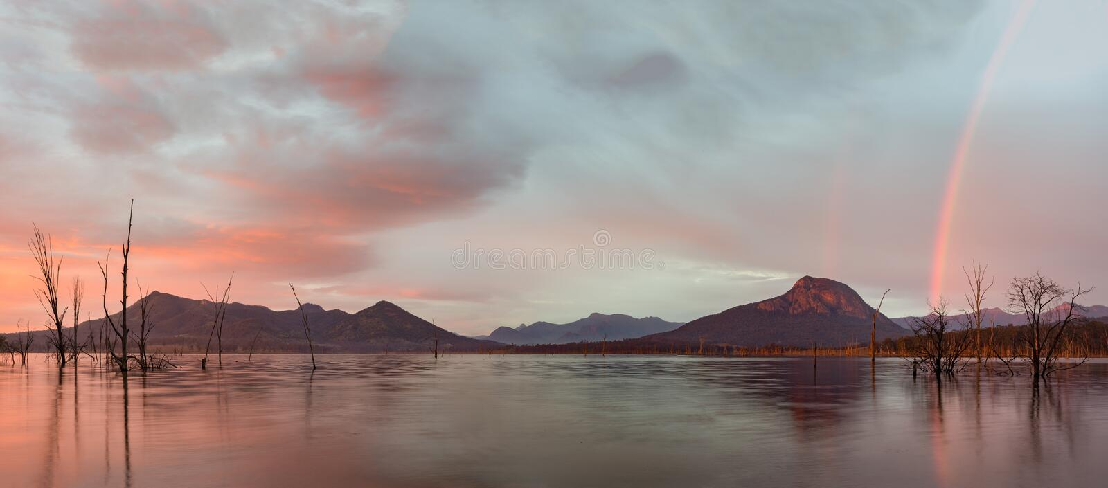 Stables by Sunset Scenic Rim, Queensland, Australia. Sunrise over Lake Moogerah with view of Mount Greville royalty free stock photos