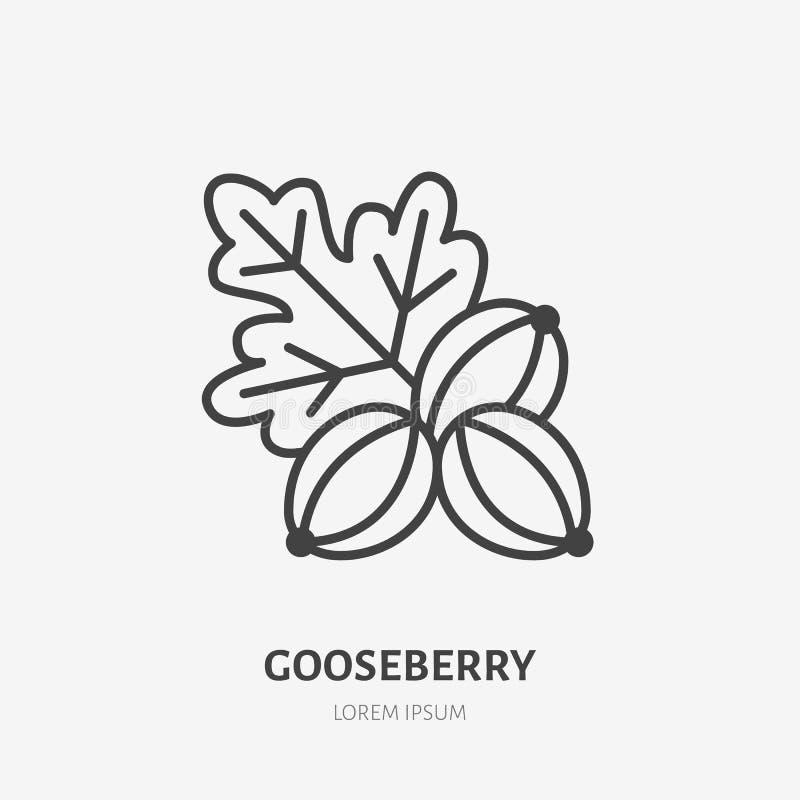 Stachelbeerflache Linie Ikone, Waldbeerenzeichen, gesundes Lebensmittellogo Illustration der Frucht für Naturkostspeicher lizenzfreie abbildung