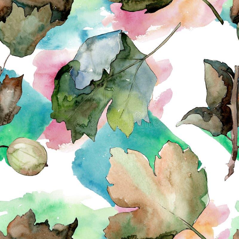 Stachelbeergesunde Nahrung Aquarellhintergrund-Illustrationssatz Nahtloses Hintergrundmuster vektor abbildung