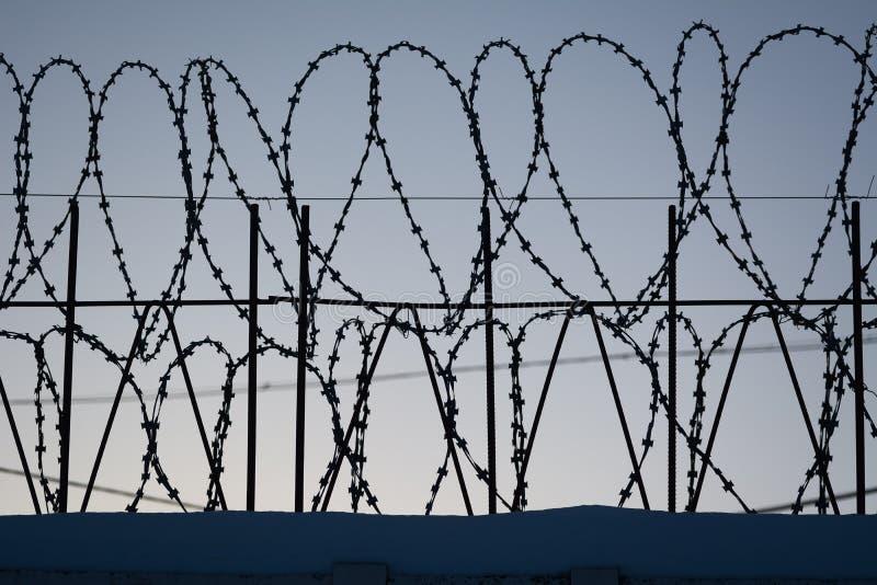 Stacheldraht auf dunklem Zaun lizenzfreies stockbild