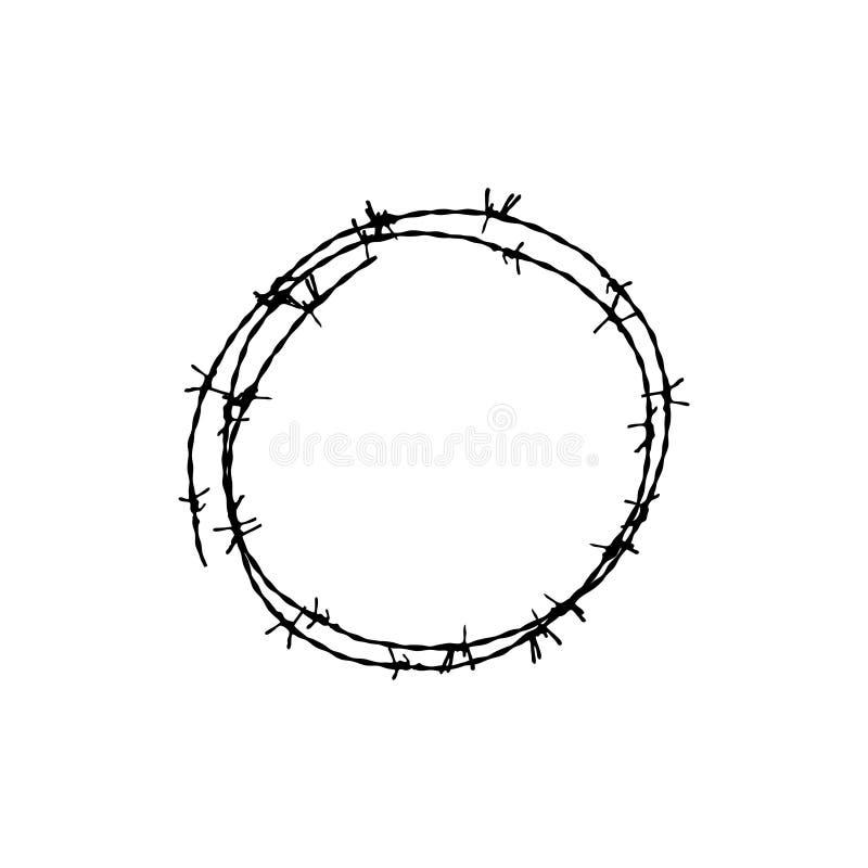 Stacheldraht für das Zurückhalten von Verbrechern im Gefängnis Ein Zaun im Gefängnis lizenzfreie abbildung