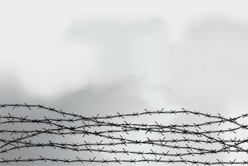 Stacheldraht-Fechten Zaun hergestellt vom Draht mit Spitzen Schwarzweißabbildung zum Holocaust Konsolenlager lizenzfreie abbildung