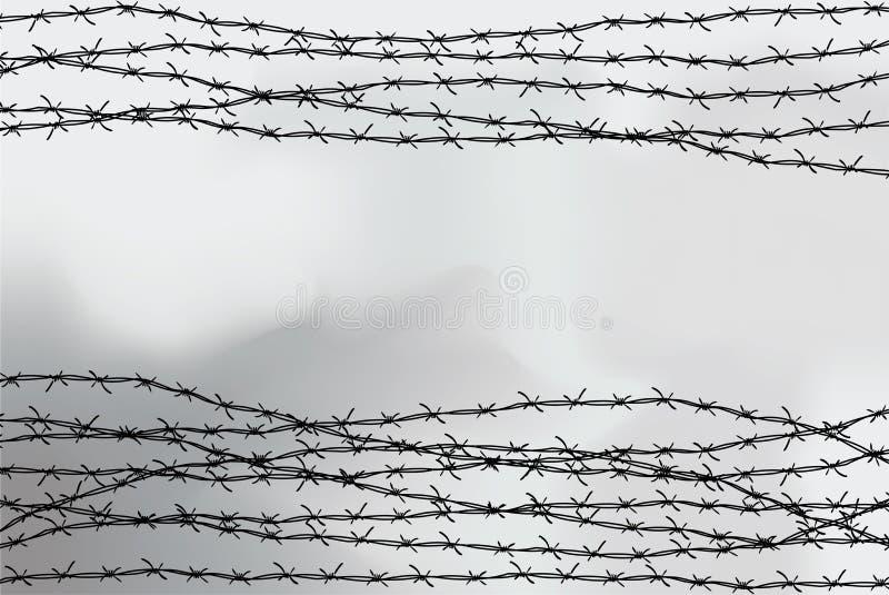 Stacheldraht-Fechten Zaun hergestellt vom Draht mit Spitzen Schwarzweißabbildung zum Holocaust Konsolenlager stock abbildung