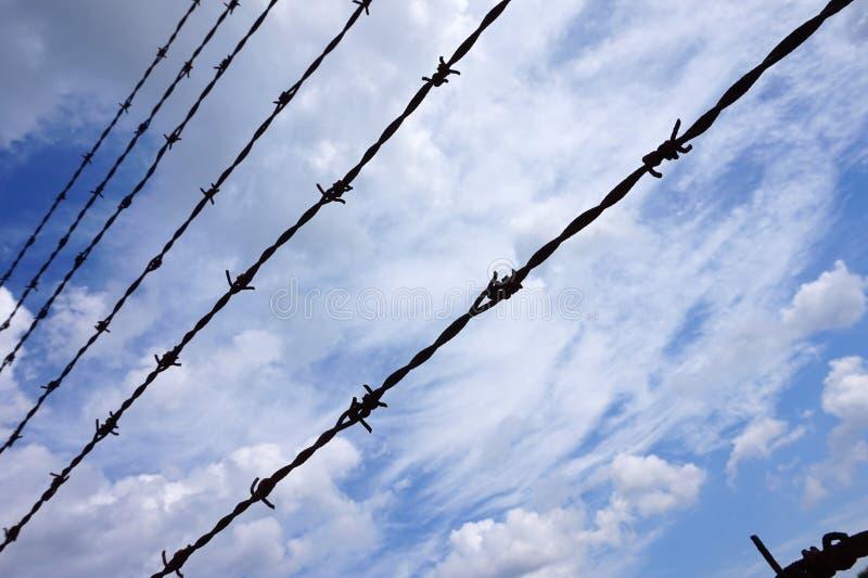 Stacheldraht, Himmel im Hintergrund - Gefängnis/Gefängnis stockbild