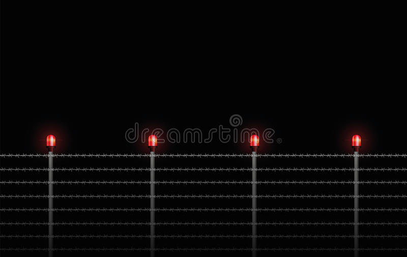 Stacheldraht-Zaun Warning Light Night stock abbildung