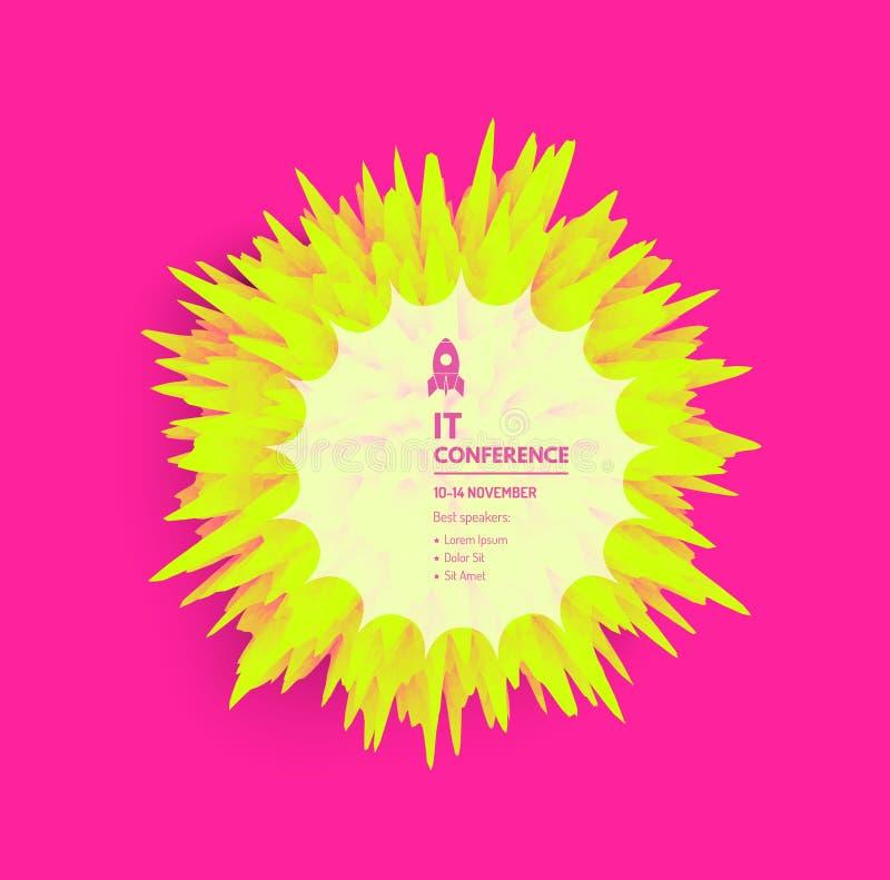 Stacheliger Ball f?r Projektplanung Hintergrund mit explodierenden Strahlen Abstrakte Vektorillustration mit dynamischem Effekt k stock abbildung