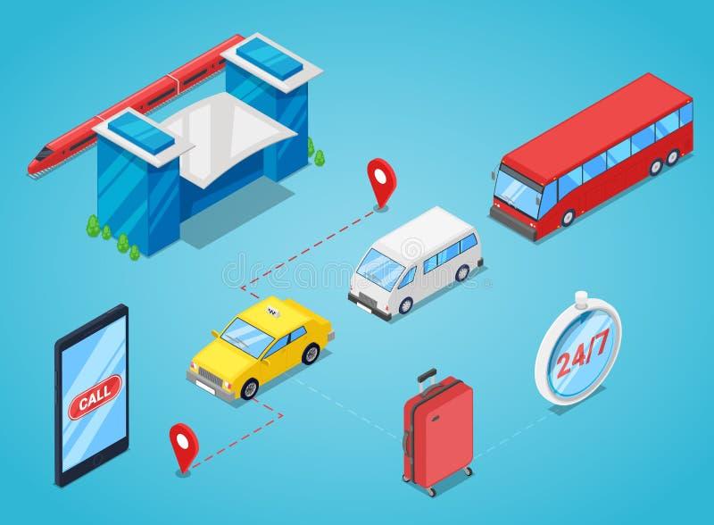 Staci kolejowej przeniesienie, wektorowa isometric 3D ilustracja Wywoławczy taxi lub zakupu wahadłowa autobusowy bilet online ilustracji