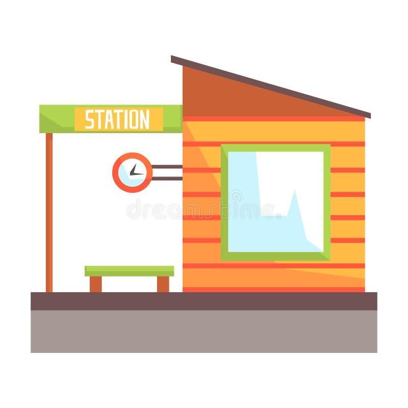 Stacja kolejowa budynek, linia kolejowa pasażera transport Kolorowa kreskówki ilustracja royalty ilustracja