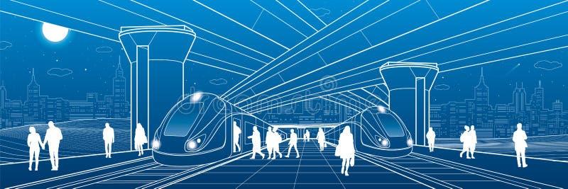 Stacja kolejowa pod wiaduktem Pasażery wsiadają pociąg Miastowego życia scena Miasto przewieziona infrastruktura Wektorowy projek ilustracji