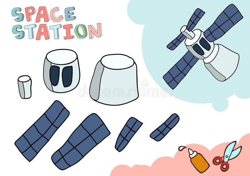 Stacja Kosmiczna papieru model Mały domowy rzemiosło projekt, DIY papierowa gra Ciie out i kleidło Wycinanki dla dzieci wektor ilustracji