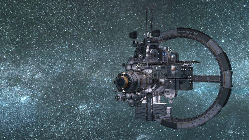 Stacja Kosmiczna ustawiająca przeciw błękitnemu kosmosu tłu ilustracji