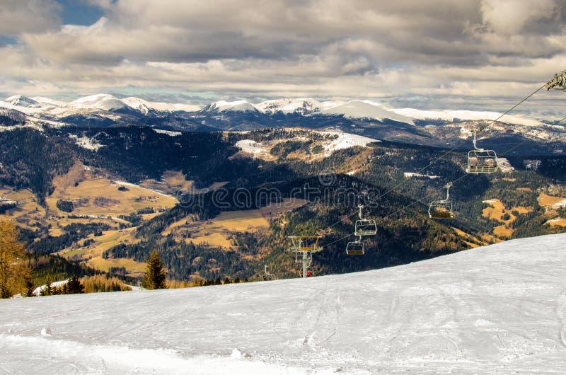 Stacja krzesła dźwignięcie w Alps obraz royalty free