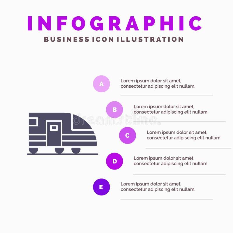 Stacja, metro, pociąg, transport ikony Infographics 5 kroków prezentacji Stały tło ilustracji