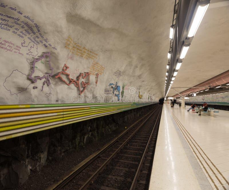 Stacja Metru Sztokholm Szwecja 08 11 2015 zdjęcie royalty free