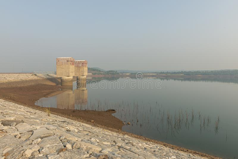 Stacja zbiorników wodnych Monsun w pobliżu Ajodhya,Bengal Zachodni,Indie obraz stock