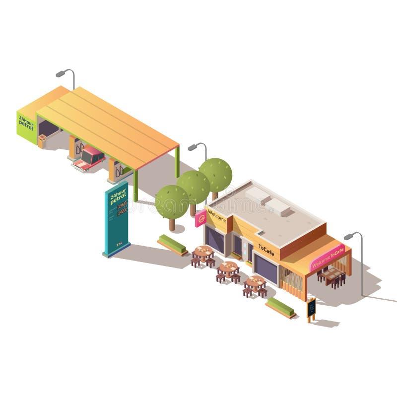 Stacji benzynowej i drogi cukierniany isometric wektor ilustracji
