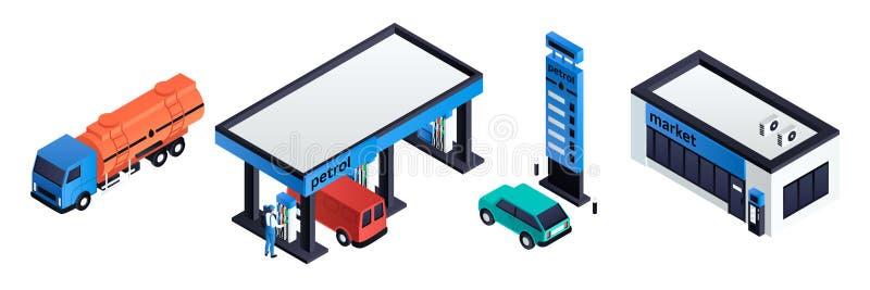 Stacji benzynowych ikony ustawiać, isometric styl royalty ilustracja