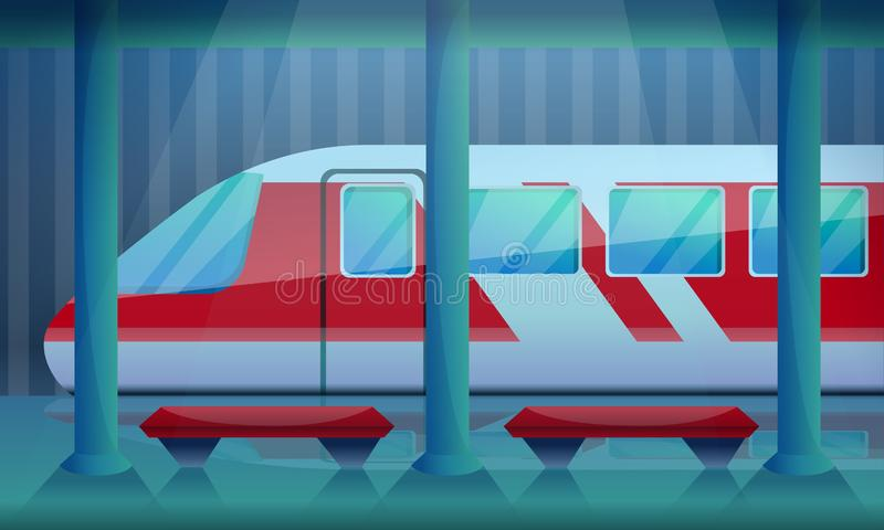 Stacji kolejowej pojęcia tło, kreskówka styl ilustracji