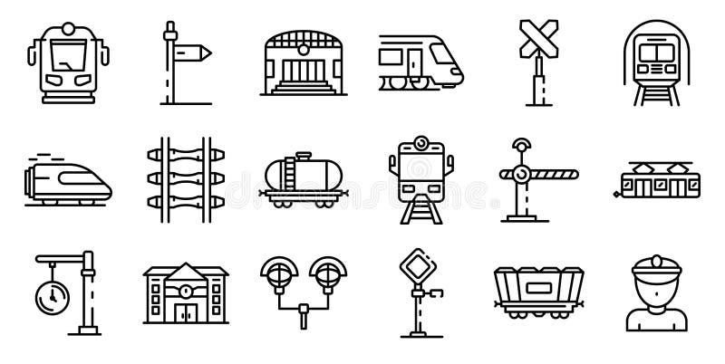 Stacji kolejowych ikony ustawiać, konturu styl ilustracji