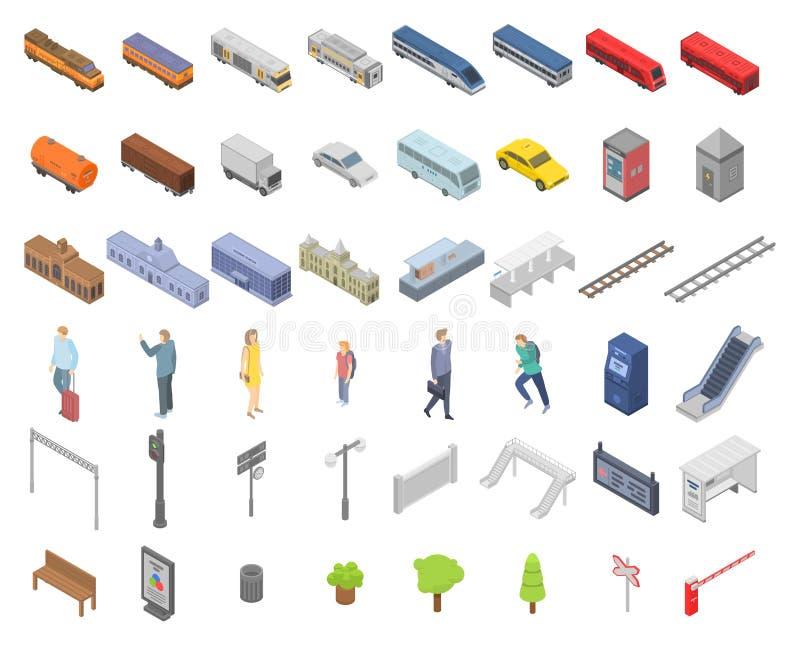 Stacji kolejowych ikony ustawia?, isometric styl royalty ilustracja