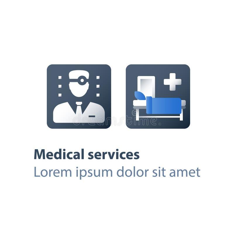 Stacjonarna terapia, hospicjum usługa, inpatient asystowanie, palliation choroba, opieka medyczna, szpitalny oddział, centrum reh ilustracji