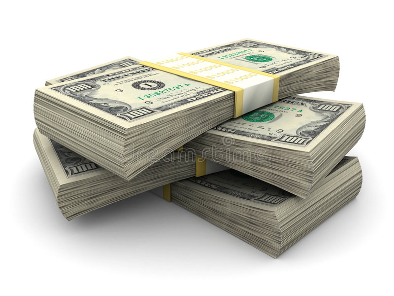 Stack of $100 bills stock illustration