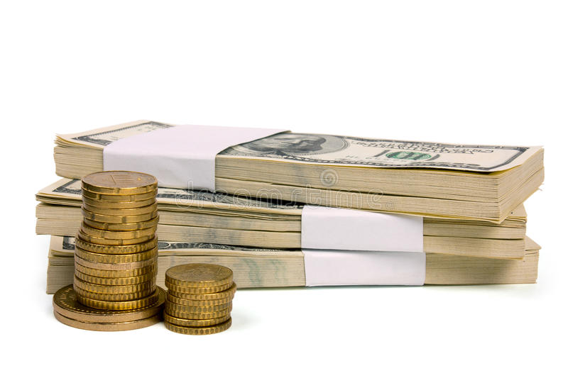 Download Stack Of $100 Bills With Coins Stock Photo - Image: 19059306