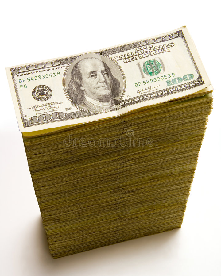 Stack of 100 dollar bills stock image