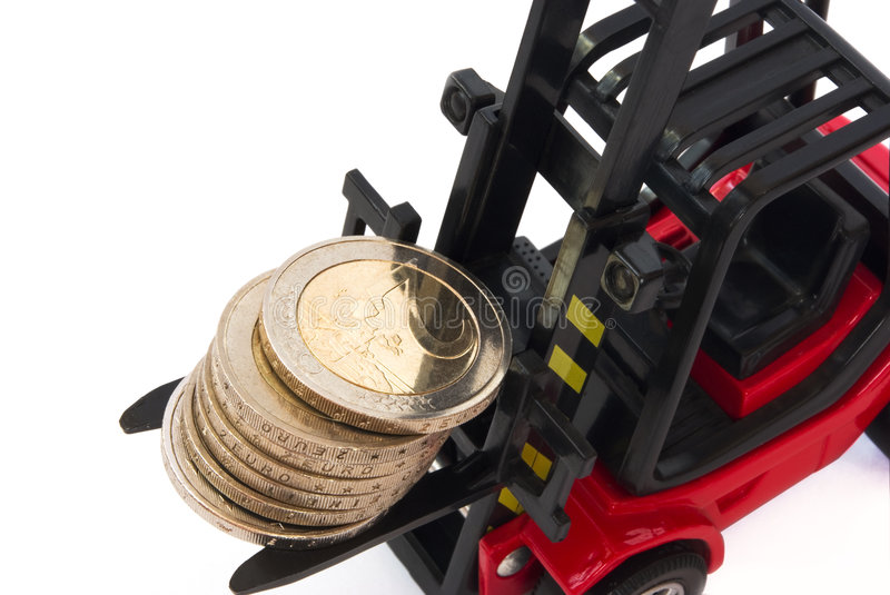 Download Stack Of 2 Euro Coins On Forklift Stock Image - Image: 9033555