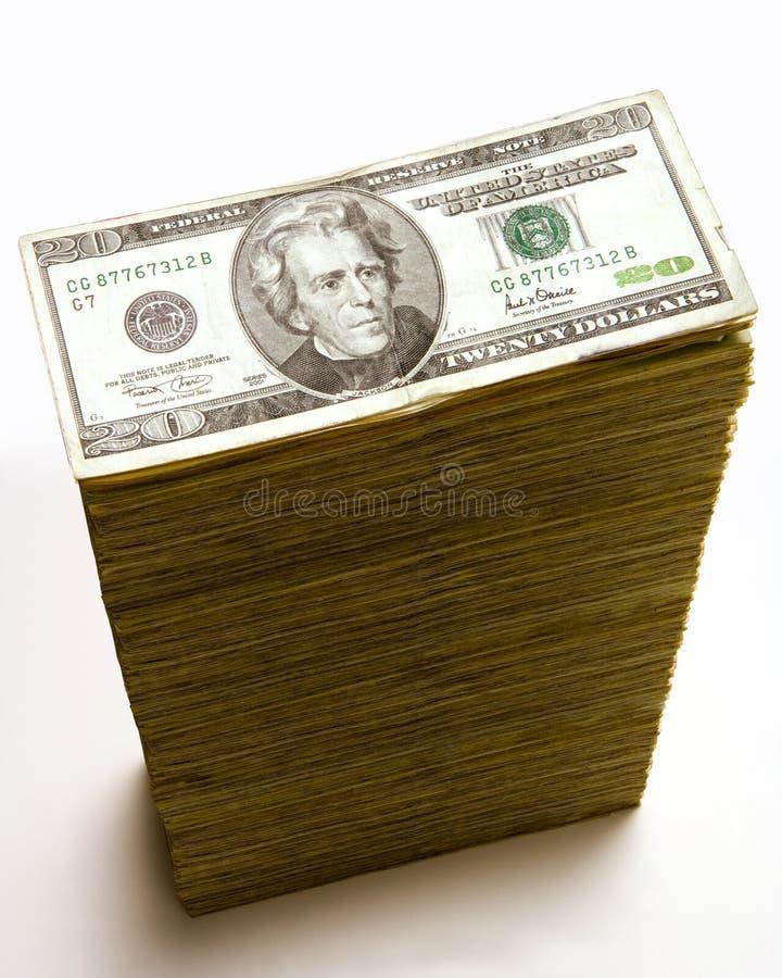 Stack of 20 dollar bills stock photography