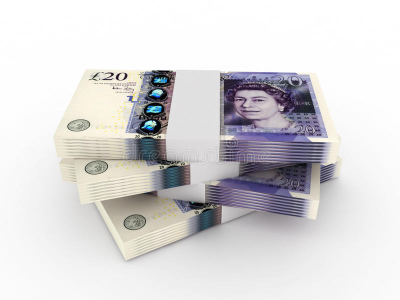Stack of 20 pound sterling bills stock image