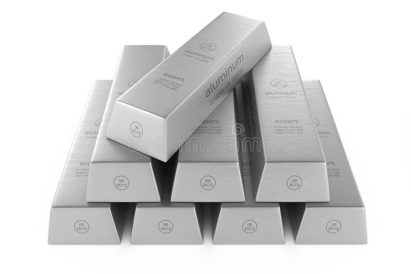 Stack of aluminum ingots. Aluminum ingots, on white background vector illustration