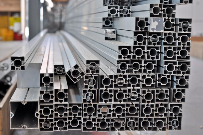 stack of aluminum structural profiles royalty free stock photos