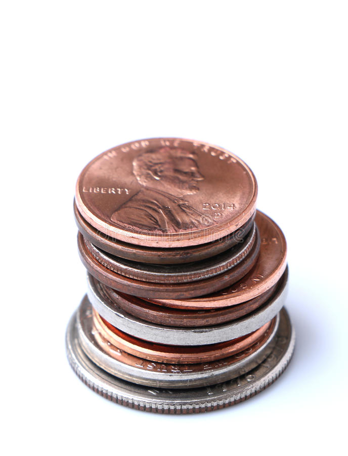 Stack of American Coins. Penny, Nickel, Dime, Quarter royalty free stock photos