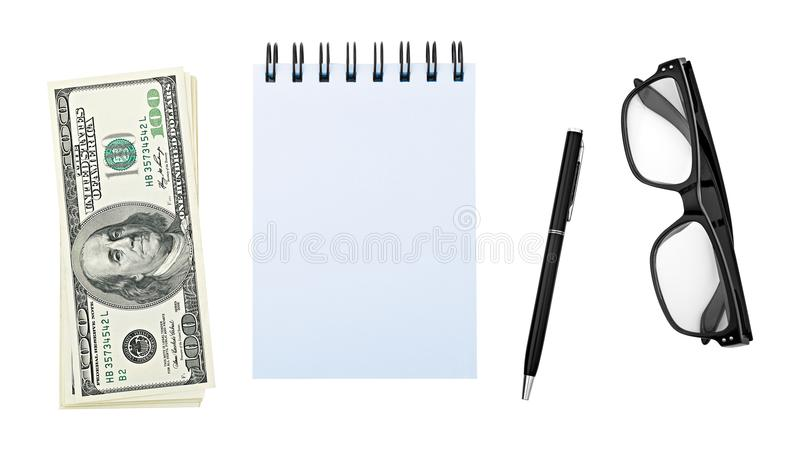 Stack American money hundred dollar bill, notebook or notepad, pen, glasses, isolated on white background clipping path. royalty free stock photos