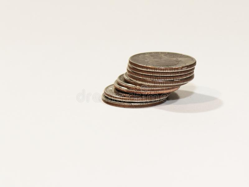 Quarter Stack Right. Stack of American quarters staggered on the right side of the frame stock photo