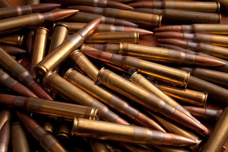 Stack of ammunition. Stack of military ammunition. War industry products stock photo