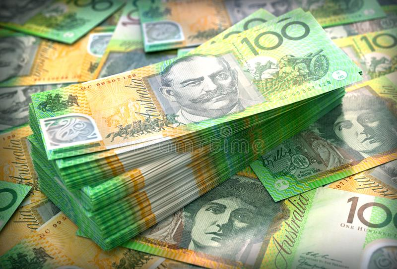 Stack of Australian cash in $100 notes stock images