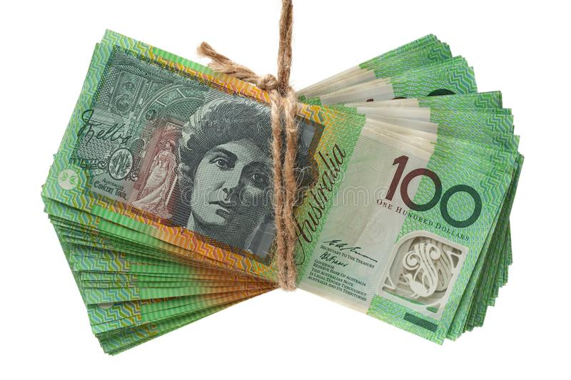 Stack Of Australian Close Up One Hundred Dollar Banknotes royalty free stock photo