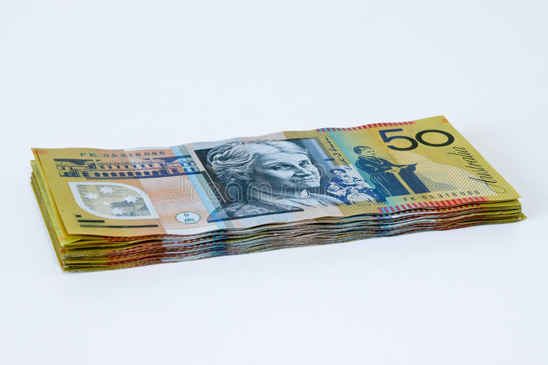 Stack of Australian Fifty dollar notes. Australian fifty dollar notes in a stack royalty free stock image